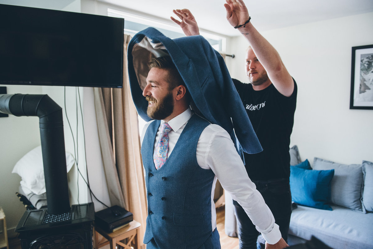 Groom getting ready for his Telluride, Colorado wedding