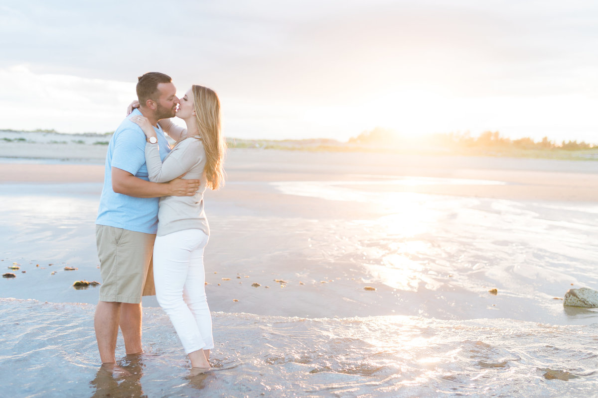 Sunset photos of engaged couple