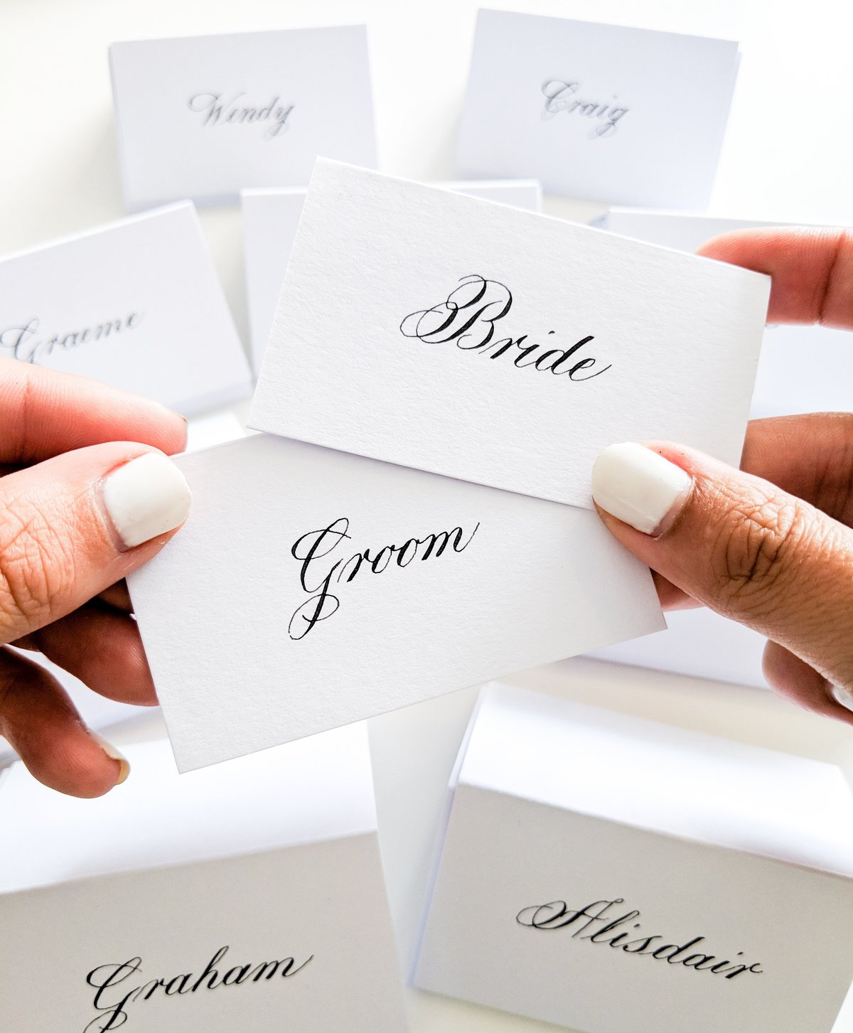 Bride and Groom Place Cards | Jenni Liandu Calligraphy