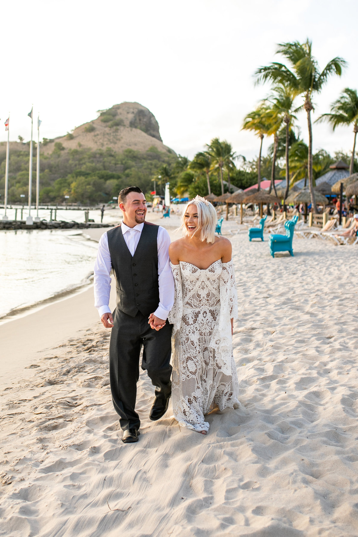 Bride and groom on the beach during their destination wedding