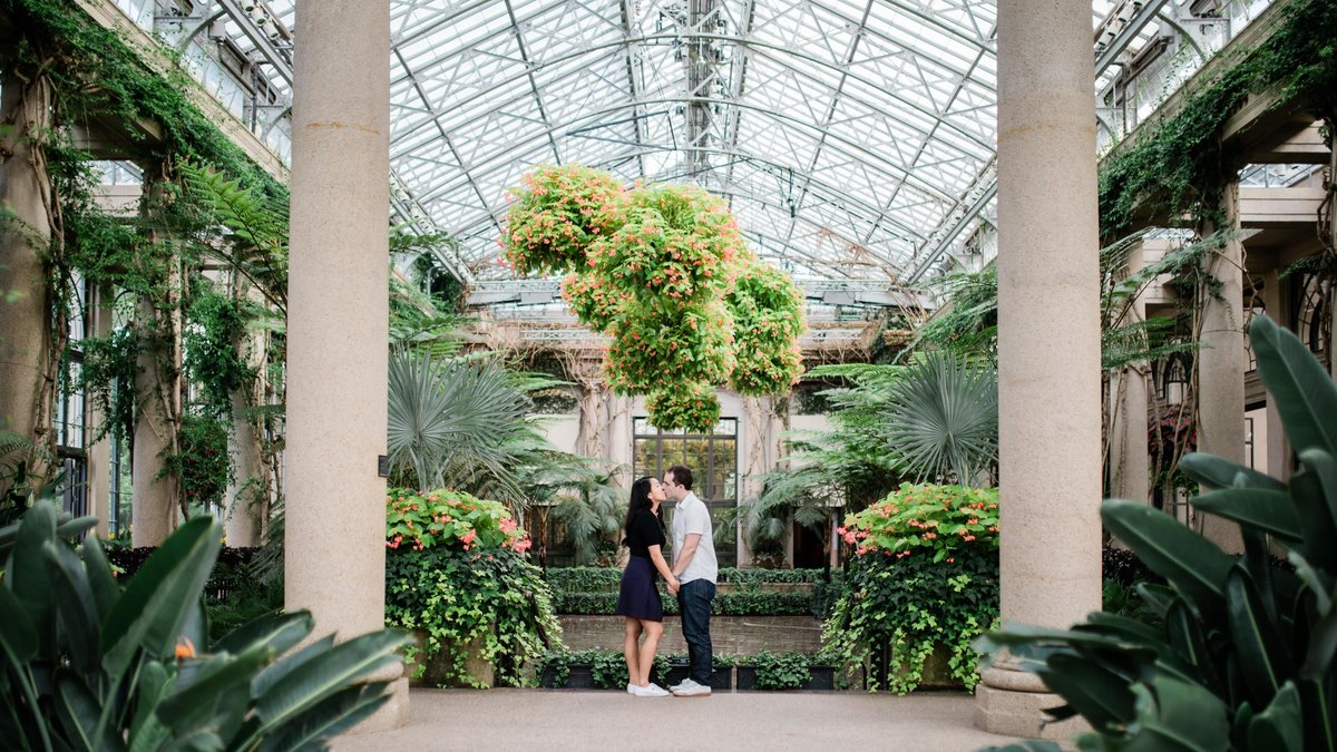 Panoramic of the greenhouse during engagement photos at Longwood Gardens