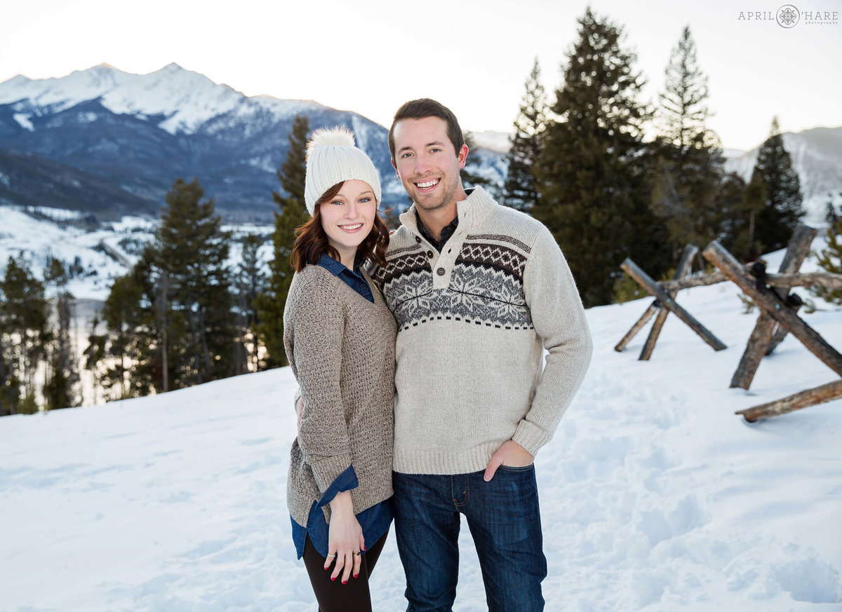 Cute Winter Engagement Photo at Sapphire Point in Colorado