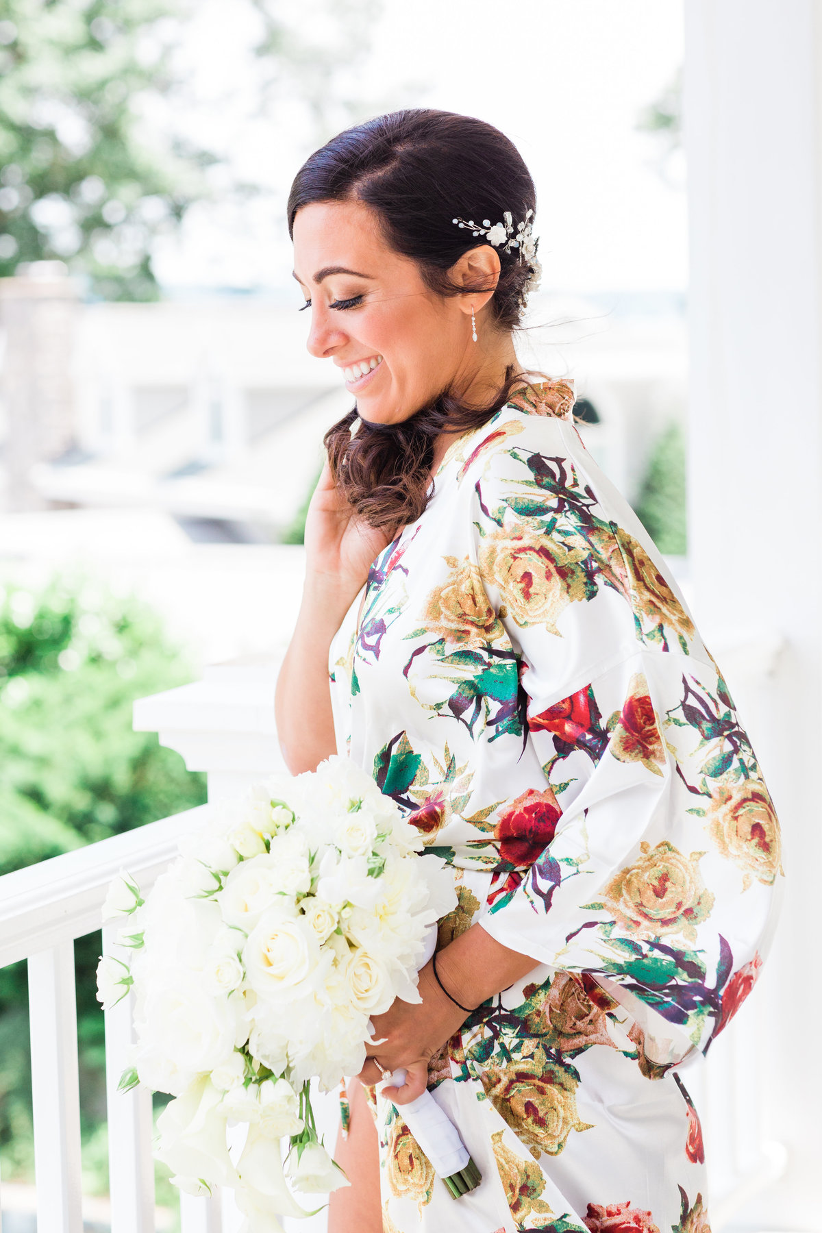 bride + floral wedding robe