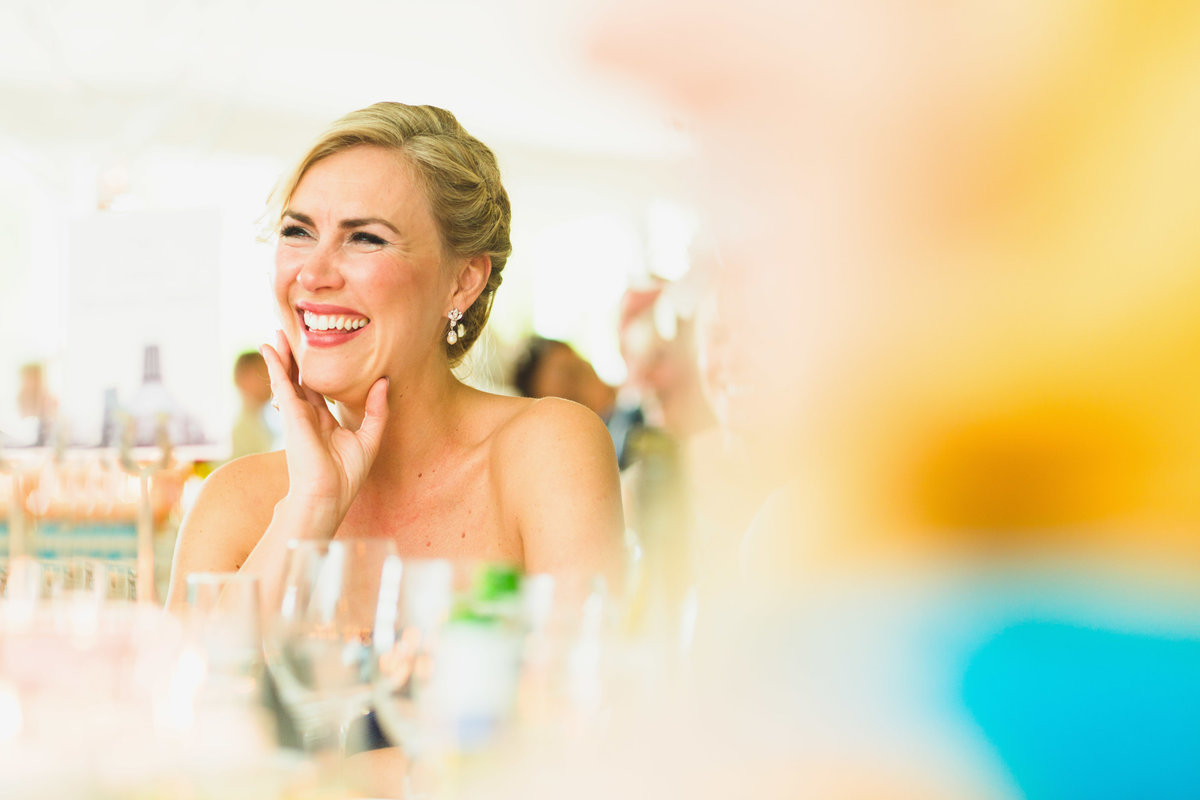 bridesmaid laughing in the speeches