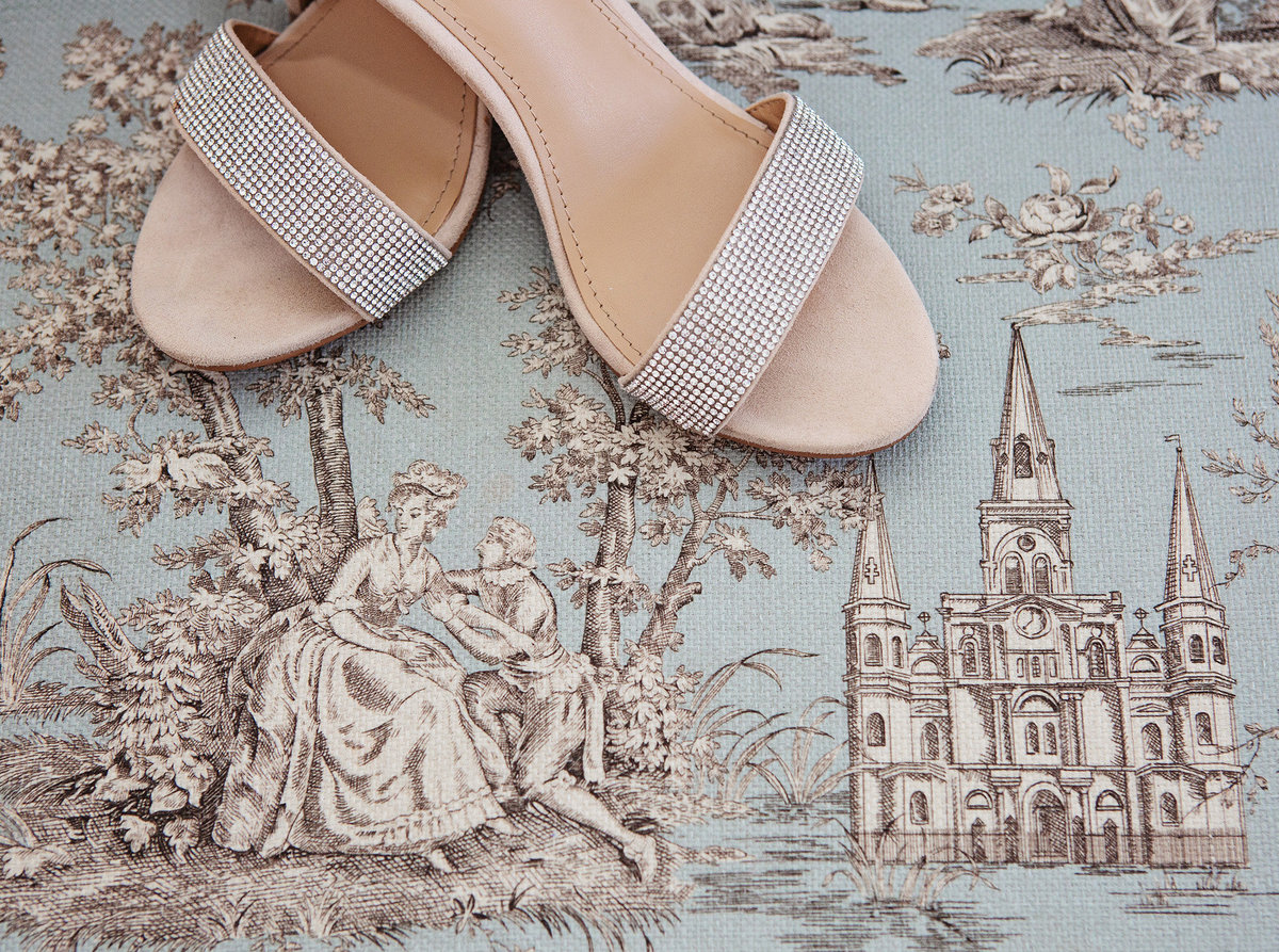 wedding shoes on a New Orleans printed fabric at the Windsor Court