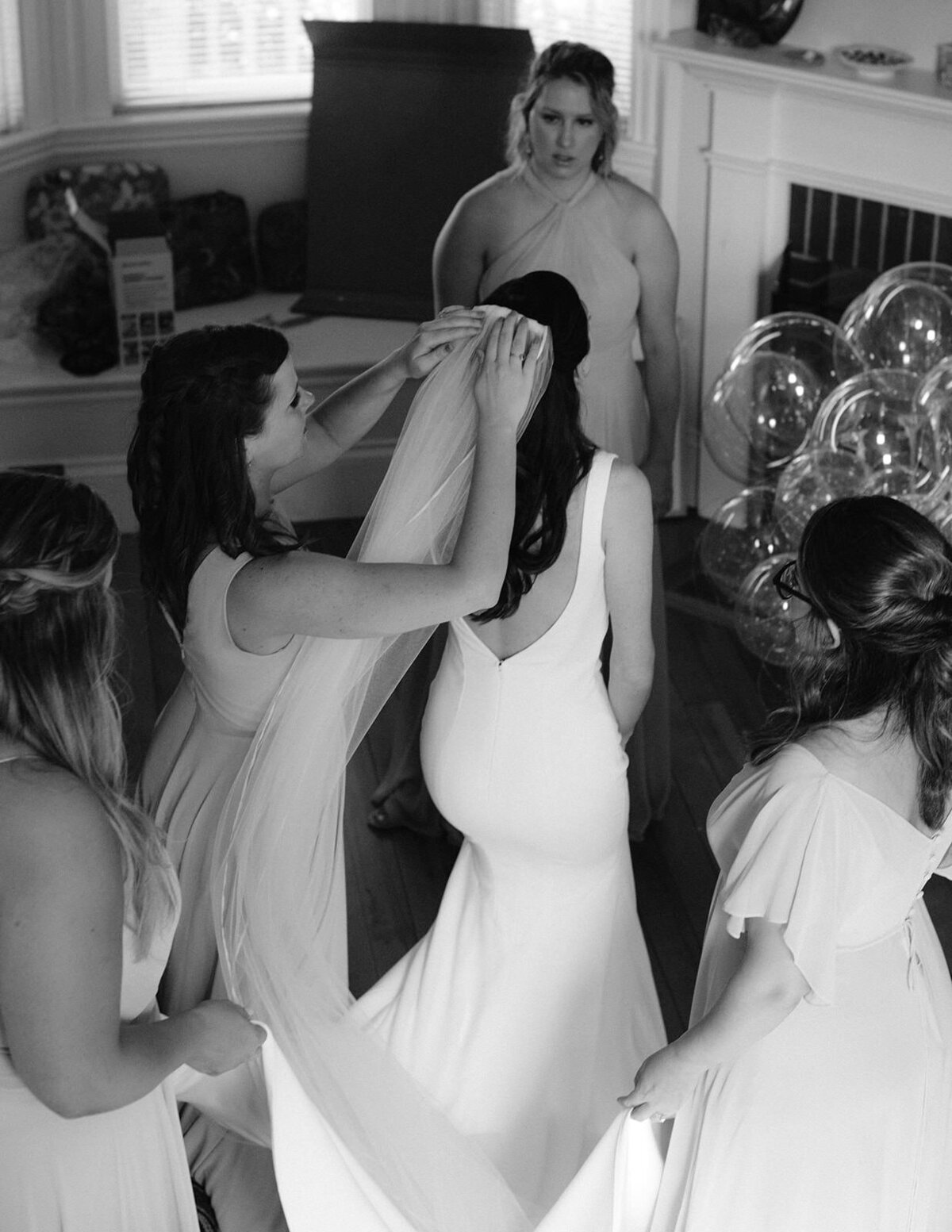 Bride gets ready in Castine Maine for her wedding