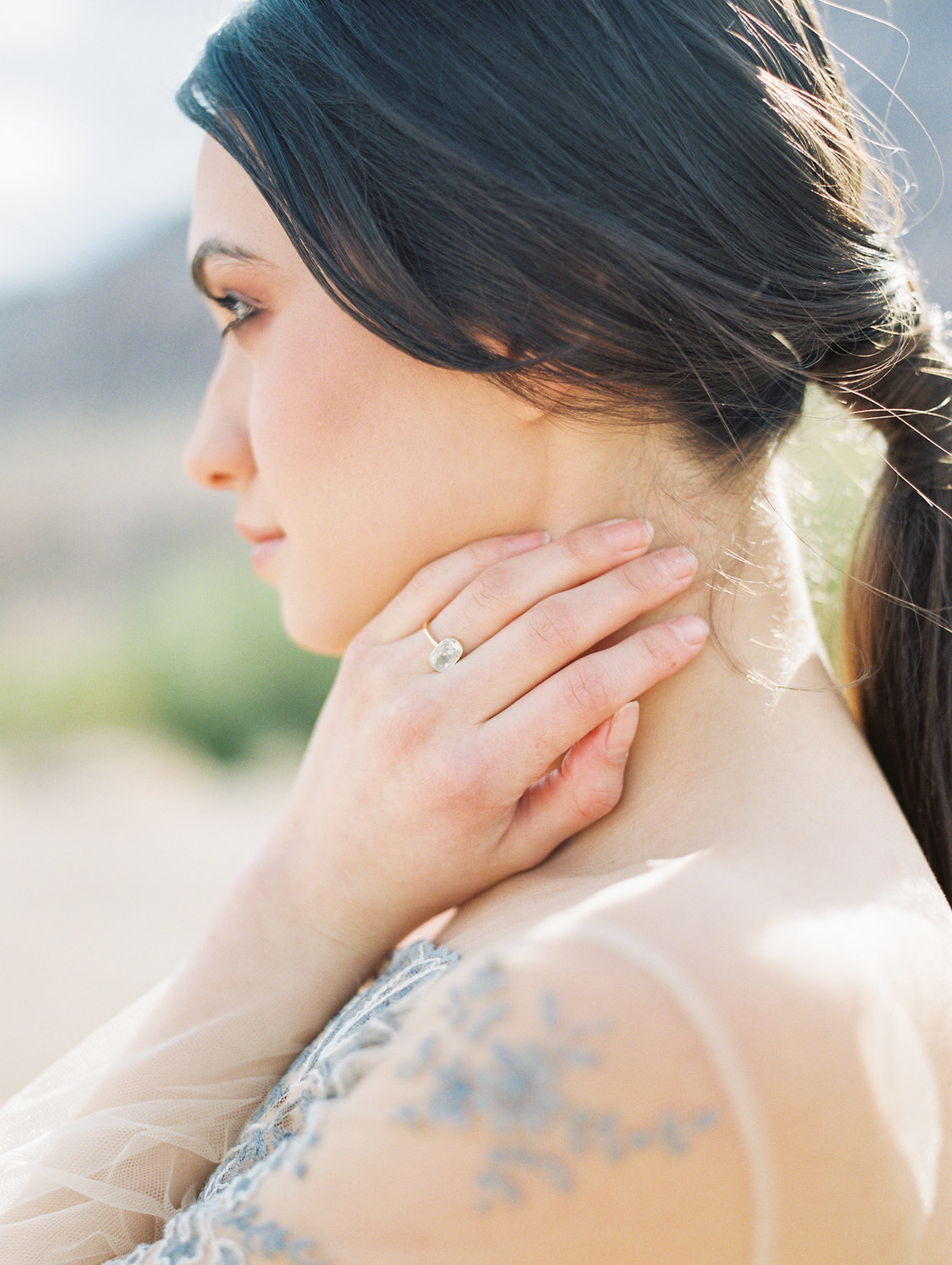Soft and Delicate side portrait of Bride in the Las Vegas Desert