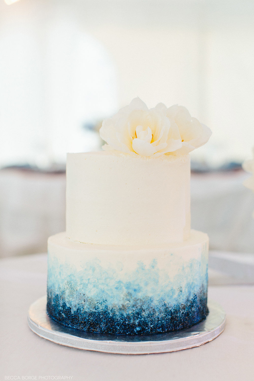 bluw and white ombre wedding cake