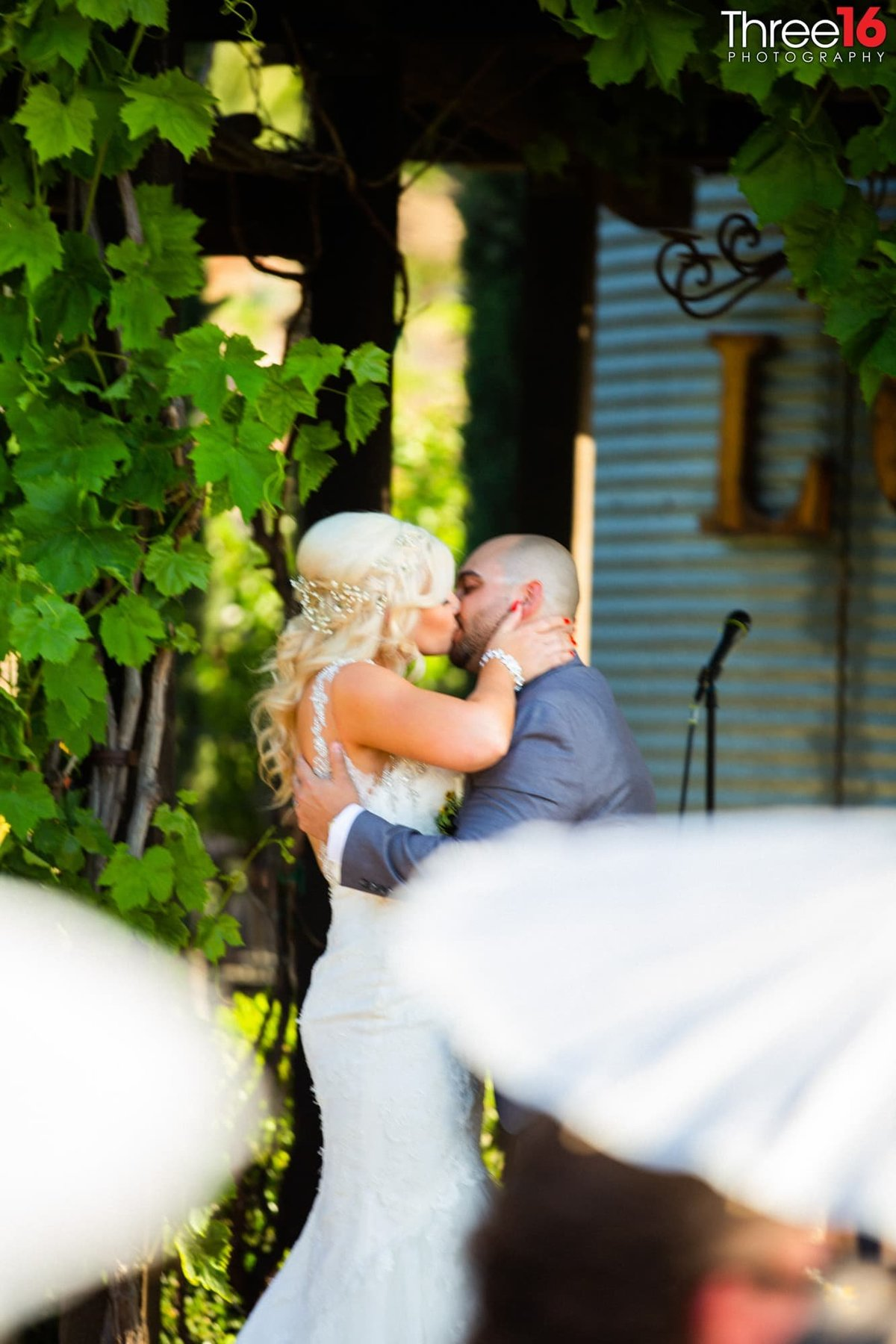 Peltzer Winery Wedding Venue Photography Temecula California First kiss
