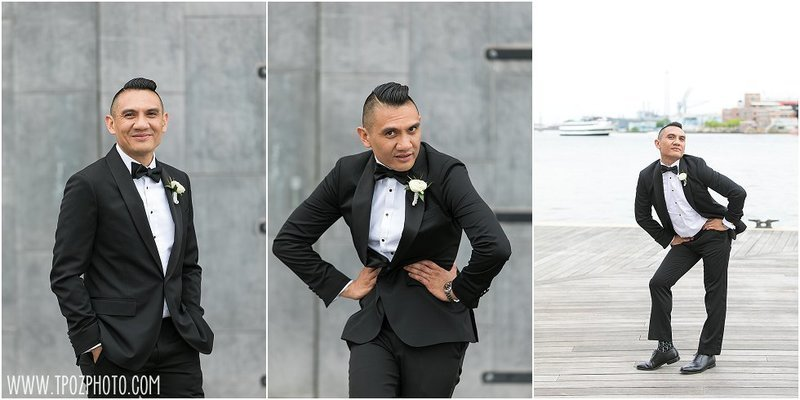 Groom strikes a model pose in Baltimore wedding