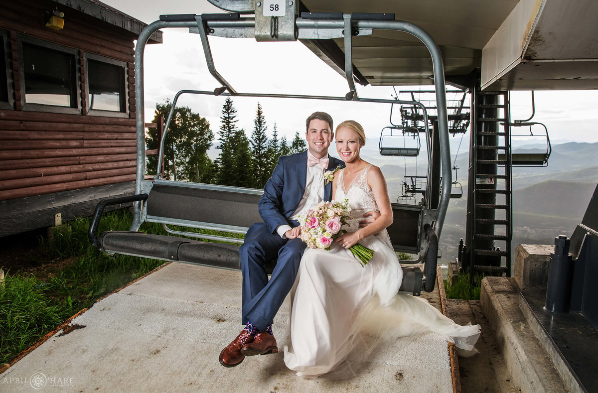 Steamboat-Springs-Colorado-Wedding-Portrait-on-Ski-Lift-During-Summer