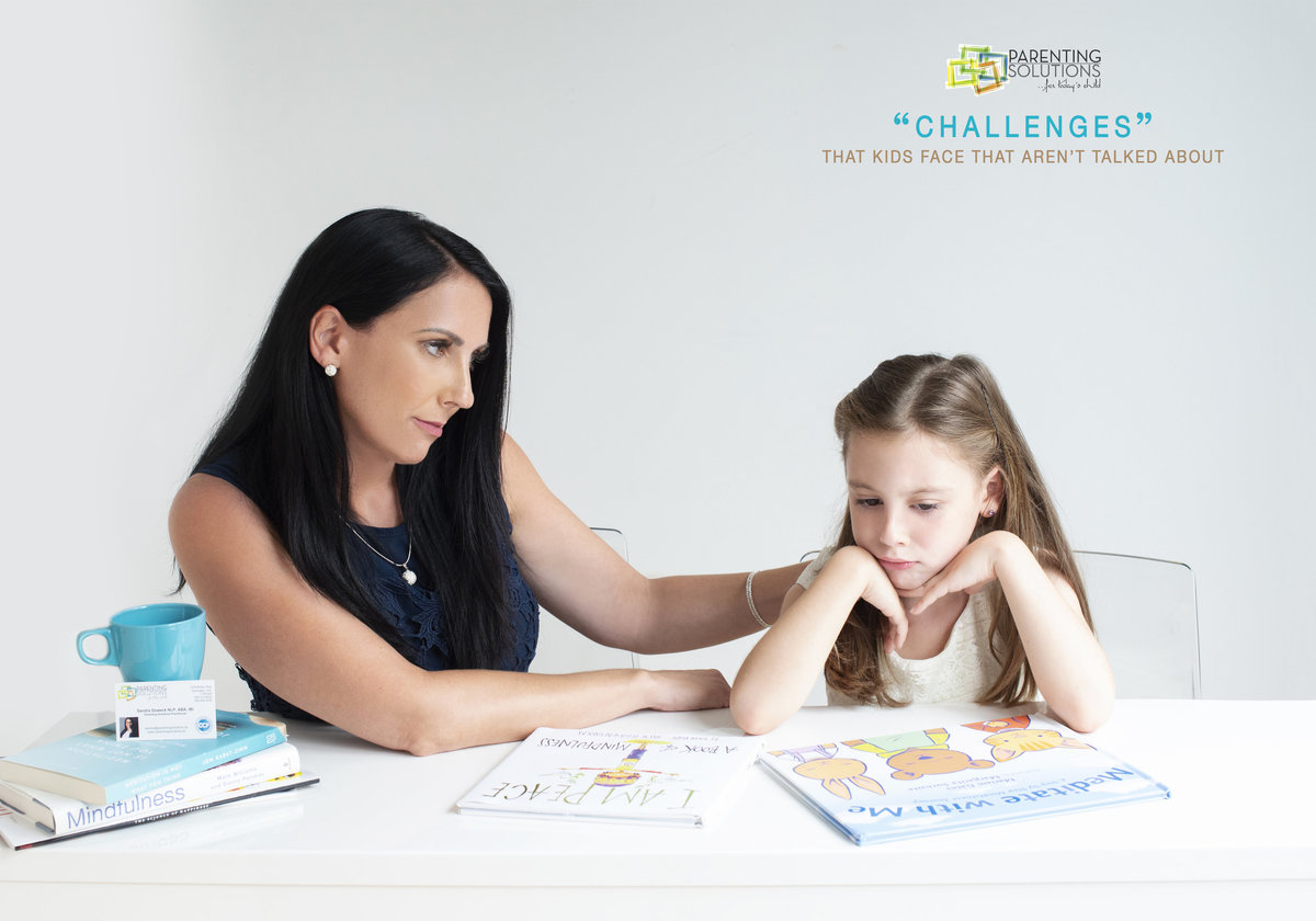 personal branding photography for   linguistic coach and guide talking to small girl  teaching in studio