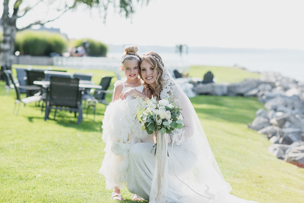 Bride and Flower Girl Lake Michigan Wedding