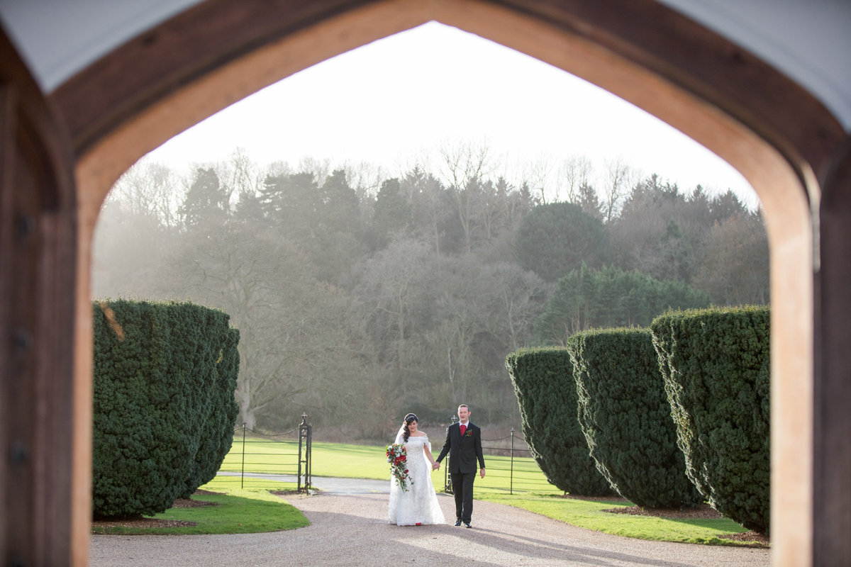 wedding couple in winter light at st audries park somerset