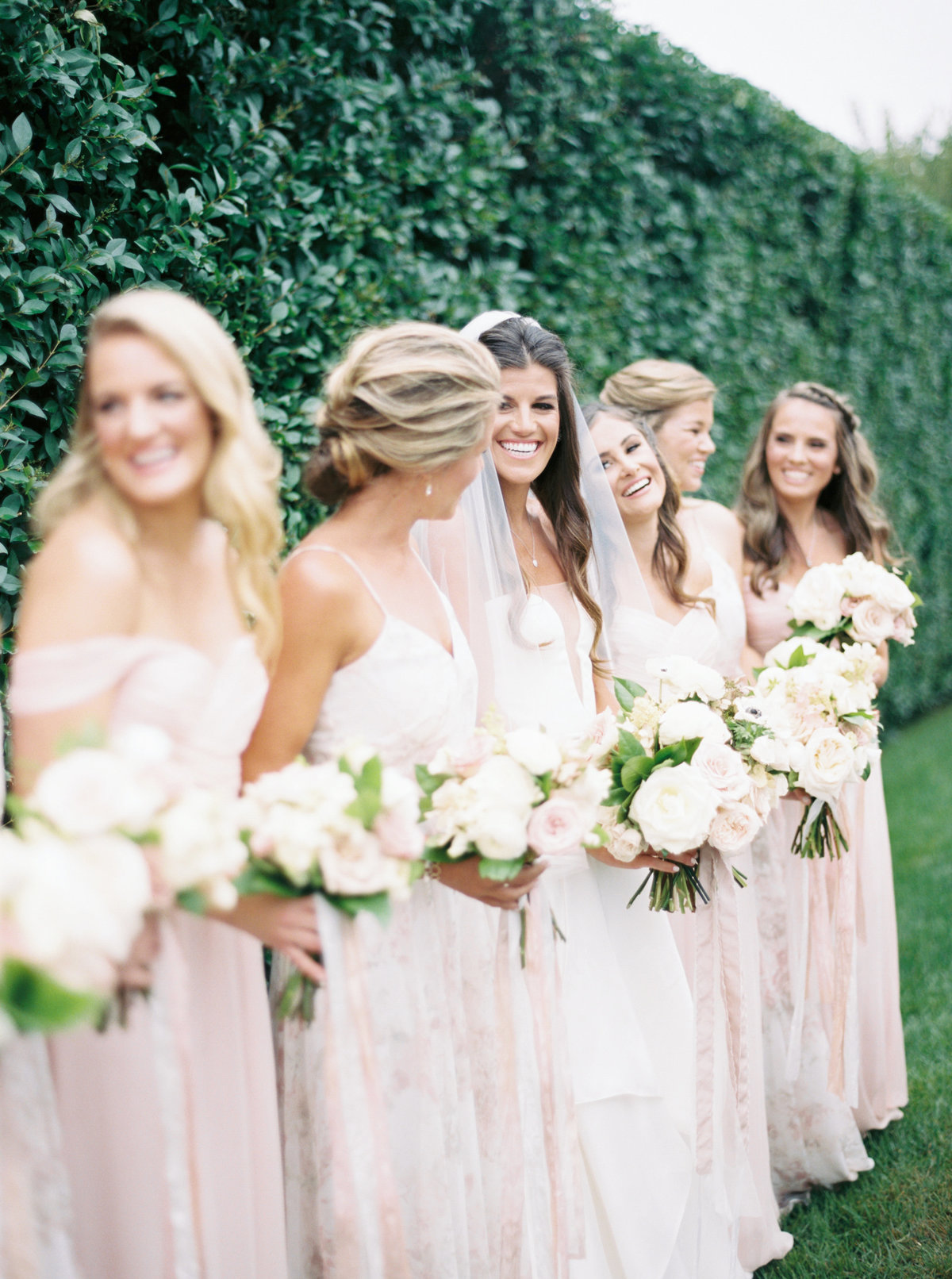 Blush bridesmaids dresses for Cape Cod wedding weekend by top destination wedding planner Always Yours Events