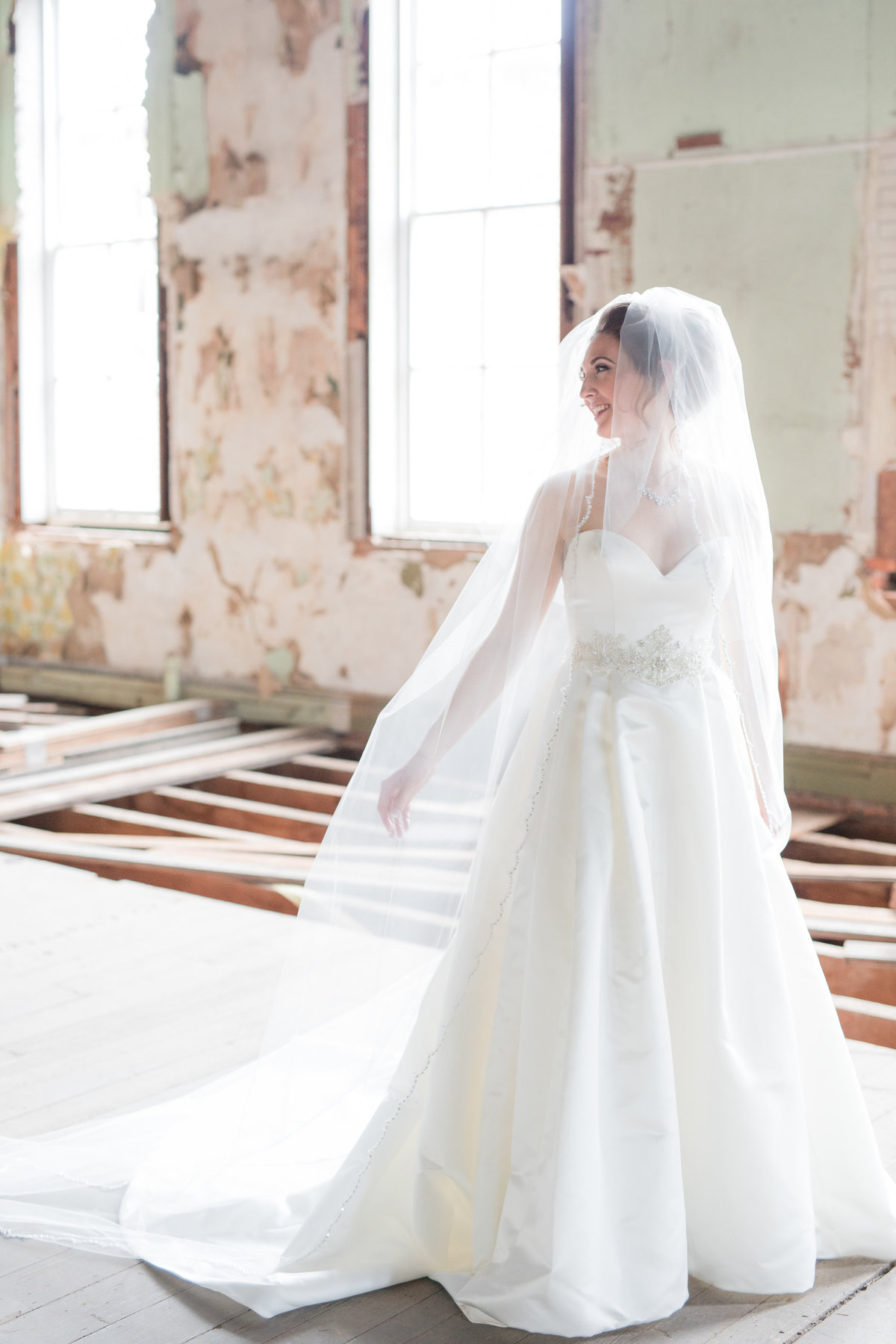 Bride portrait in third story at Excelsior Lancaster - By Maria Silva Goyo