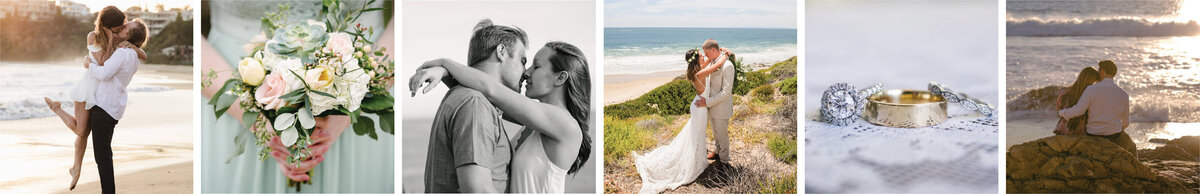 Brides embracing their grooms on their wedding days at the beach