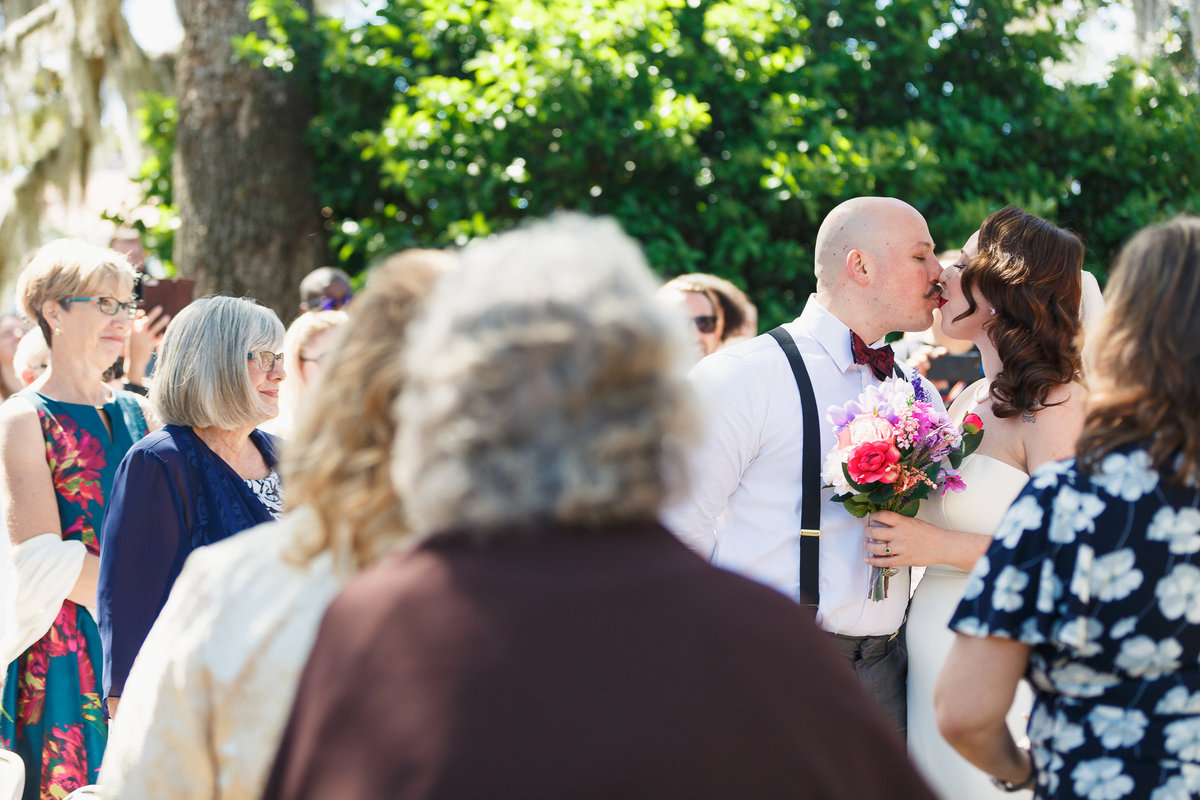 Bride and Groom Kiss at the End of the Ceremony at their Riverside Jacksonville Florida Wedding