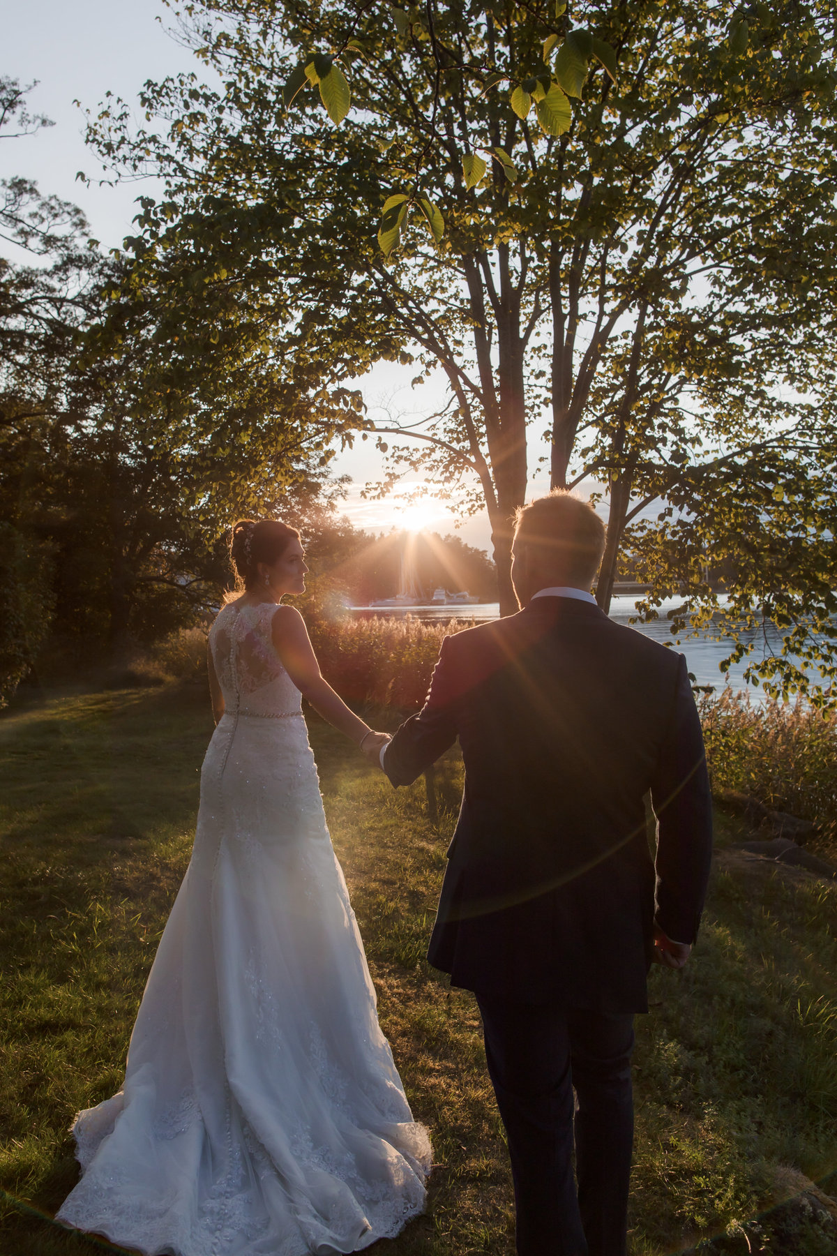 Golden hour walks, where the bride drags her now husband , after her walking towards the sun.