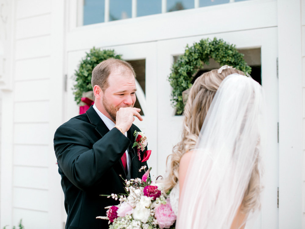 Groom emotional during first look at Tybee Wedding Chapel