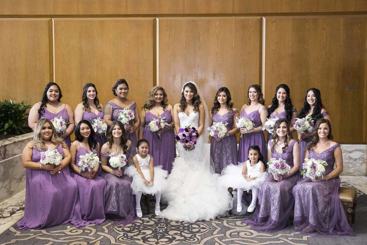 Mara loves the color purple and dressed all her bridesmaids in it at her beautiful Seattle wedding.