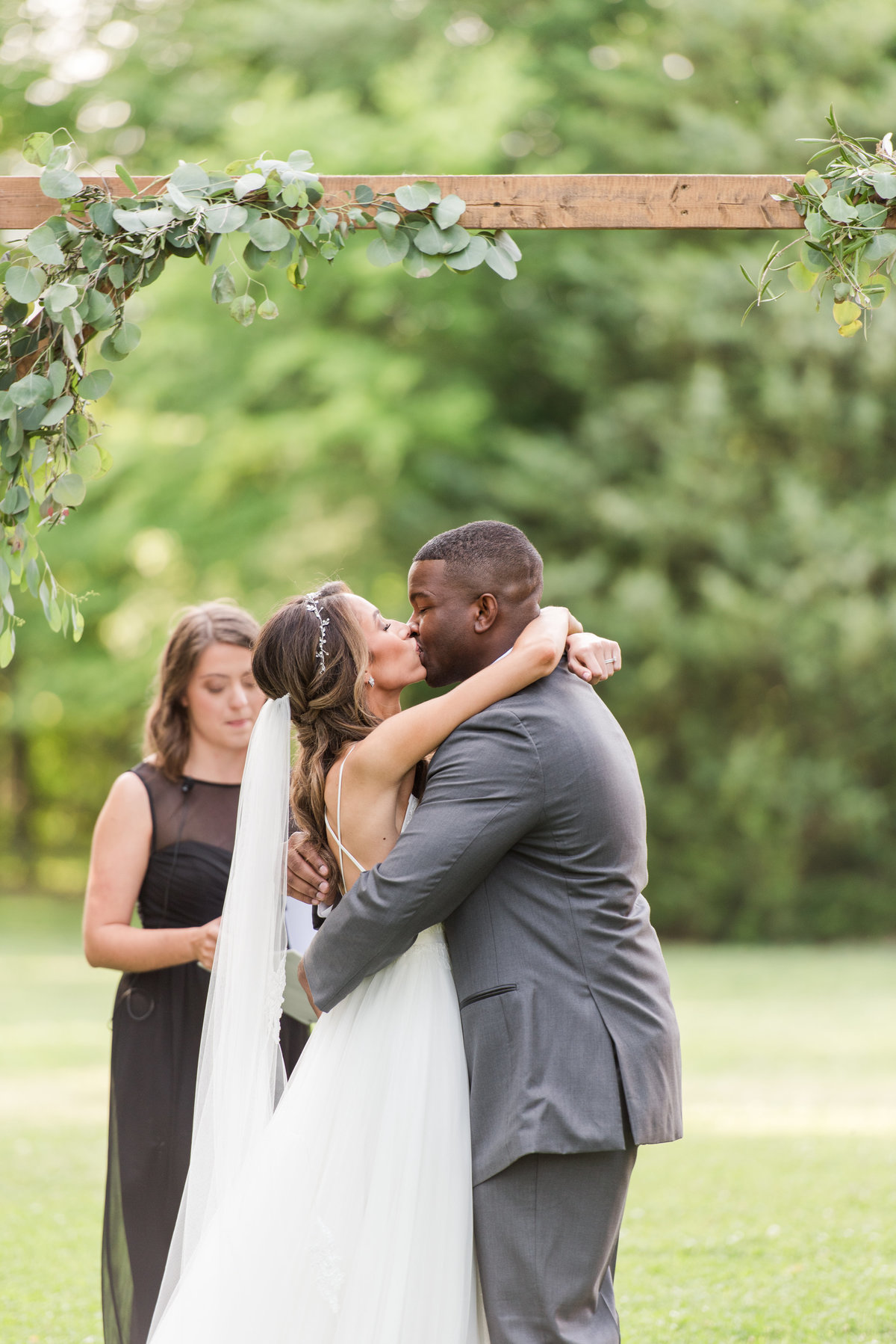 First kiss at heritage farm wedding