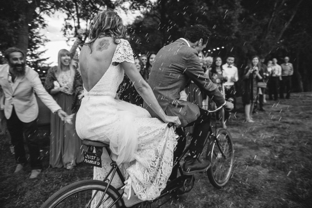 Wedding entrance on a bicycle built for two