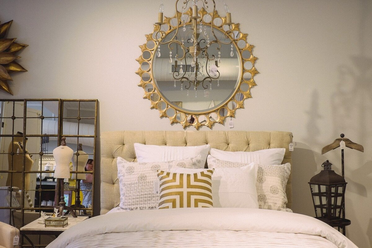 upholstered bed sunburst mirror