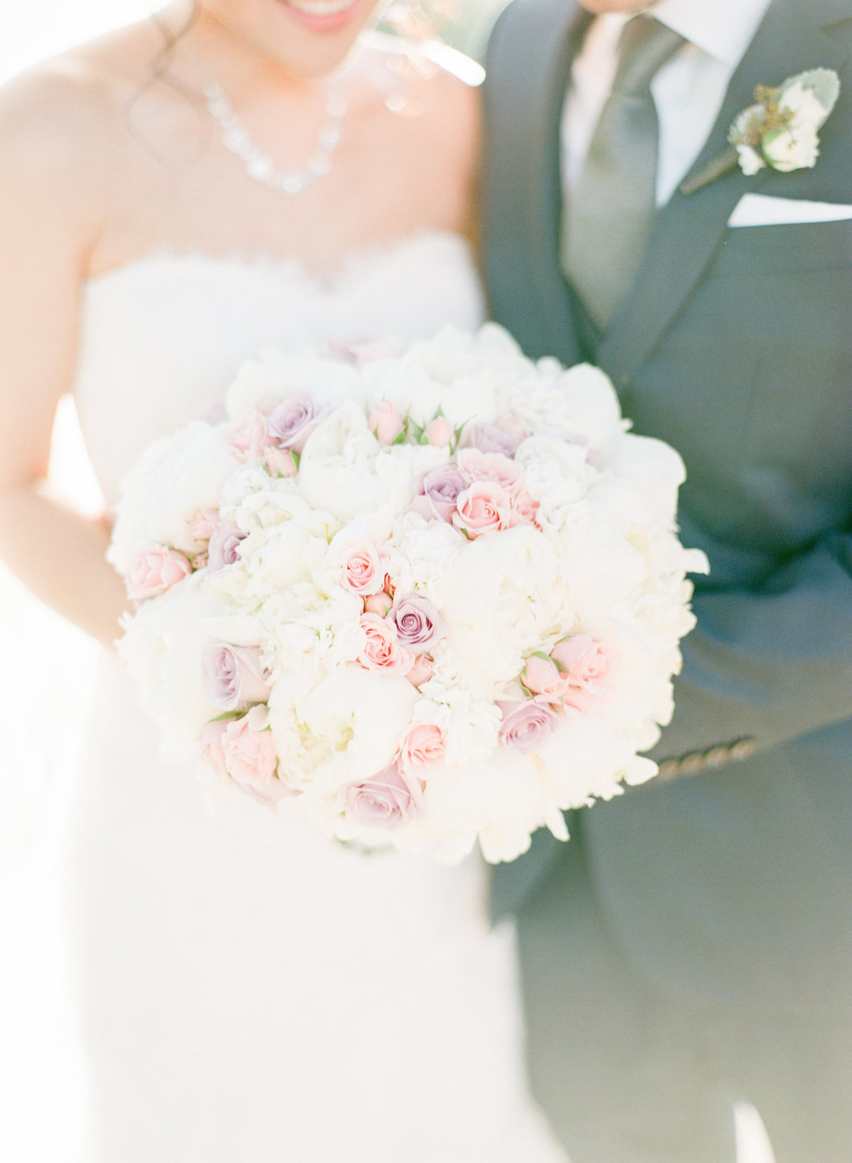 Blush Pink Rose White Peonies Bouquet