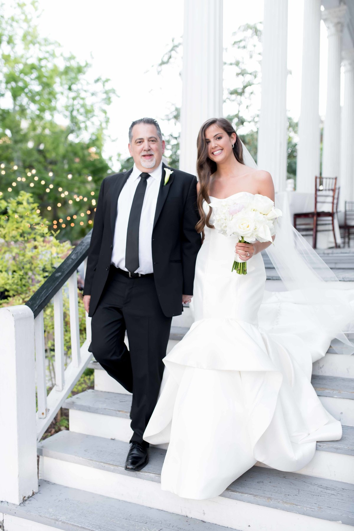 Last moment withFather and daughter during a wedding at Wickliffe House in Charleston, SC