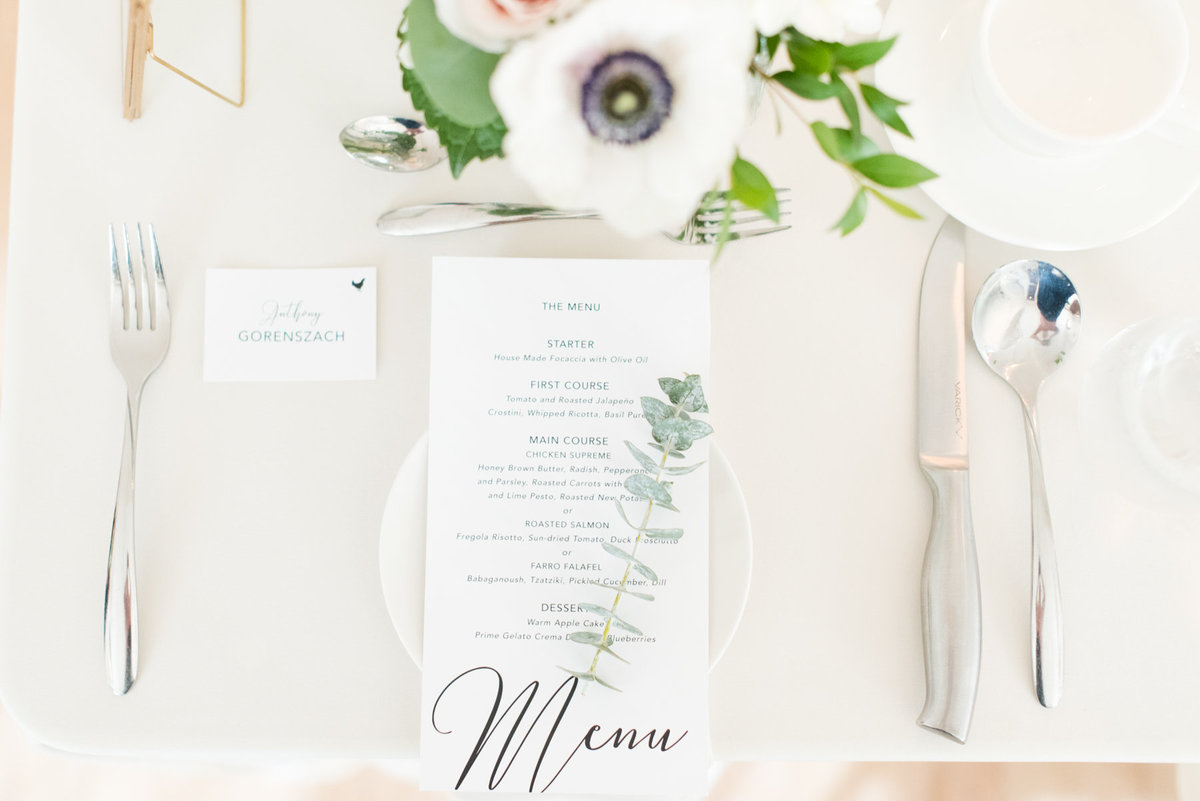 Table menu at The Chanterelle designed by Amy Sylvia Designs