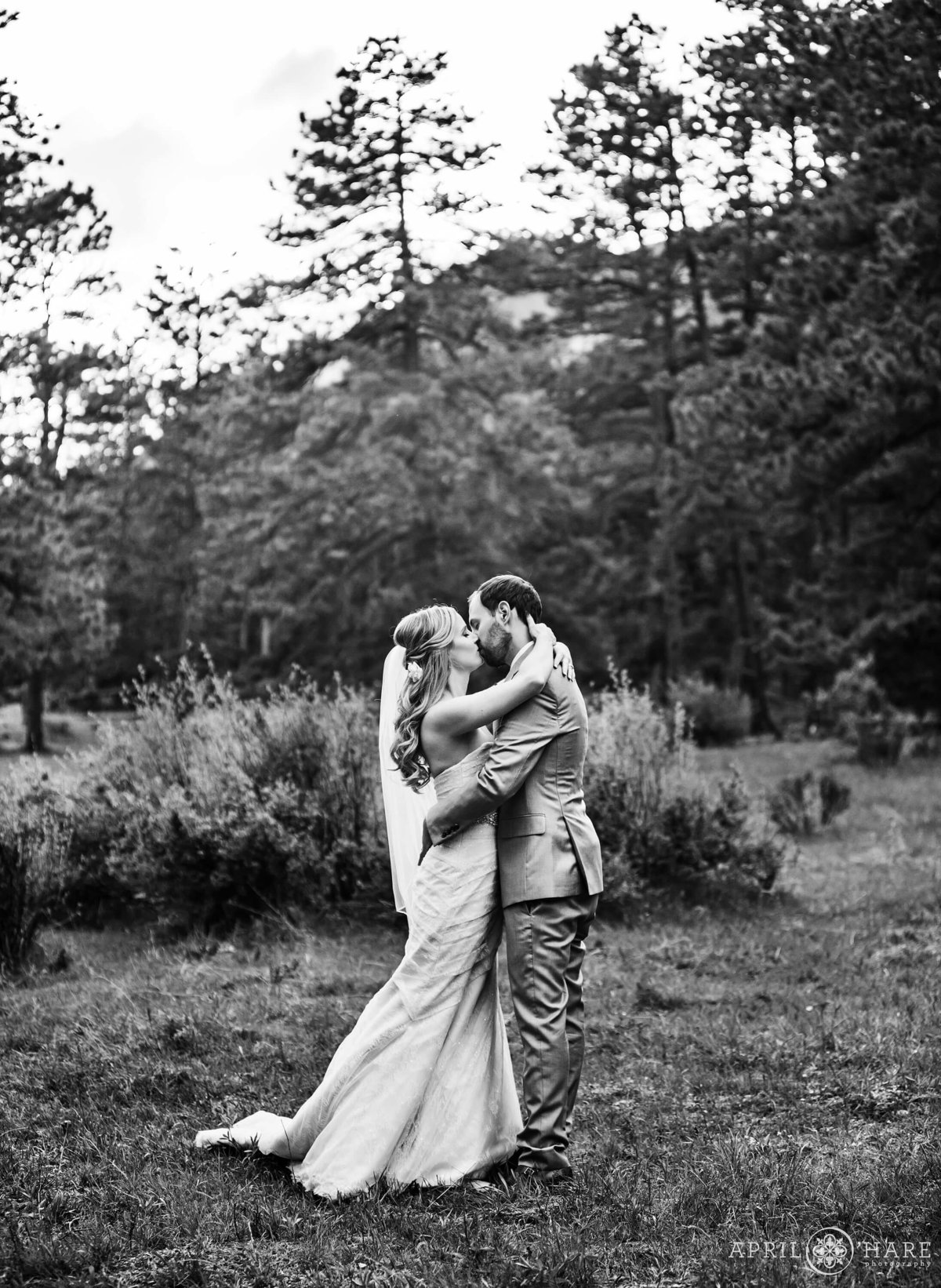 B&W Wedding Photography Estes Park Della Terra Chateau