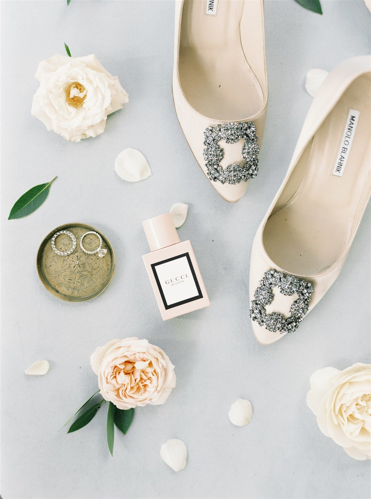 Manolo Blahnik shoes, 3 carat diamond engagement ring and Gucci Bloom for a Cape Cod Wedding by luxury Cape Cod wedding planner and designer Always Yours Events