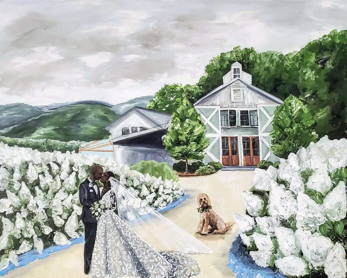 Live painting of a bride and groom sharing a kiss outside Pippin Hill Vineyards in Charlottesville Virginia