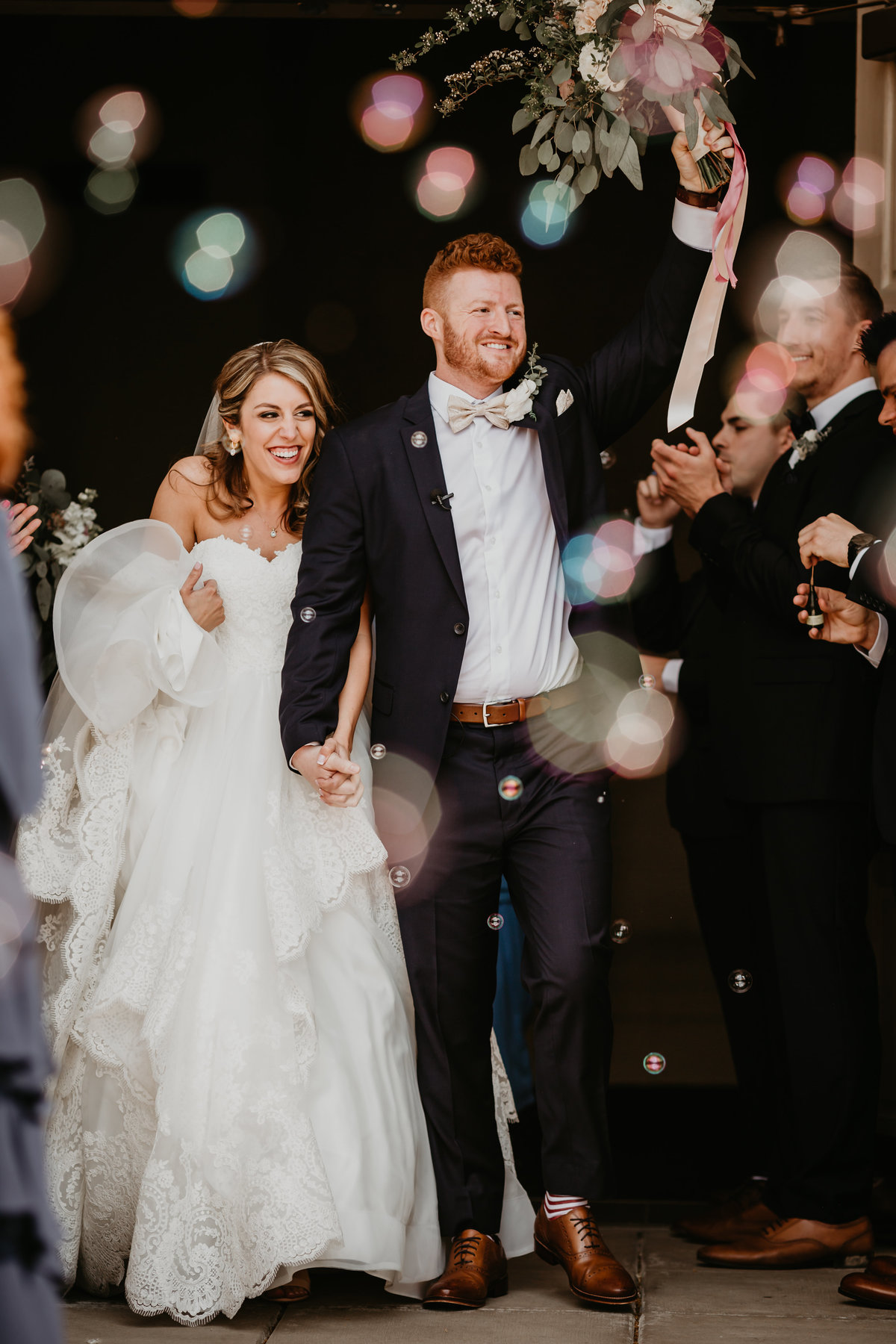 Cleveland Ohio Wedding couple with lovely bubble exit