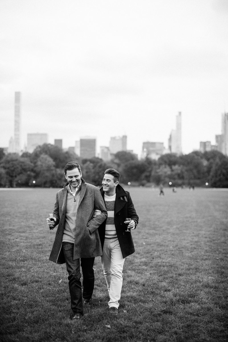 same sex coule engagement photo sessin in Central Park
