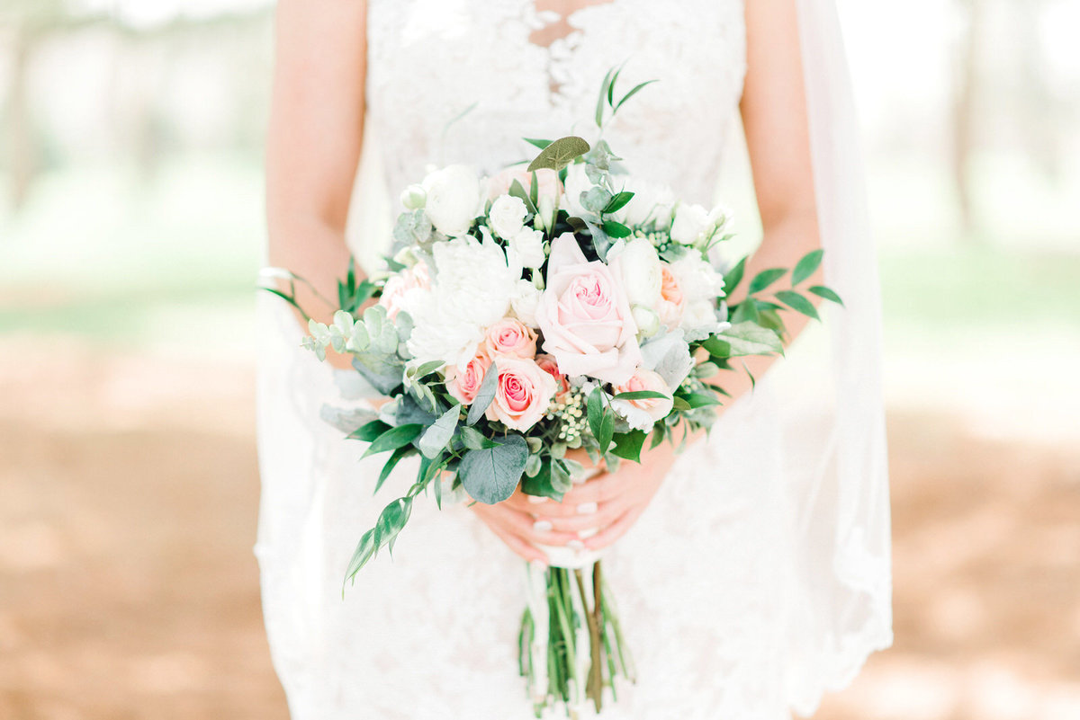 pink white and green wedding florals