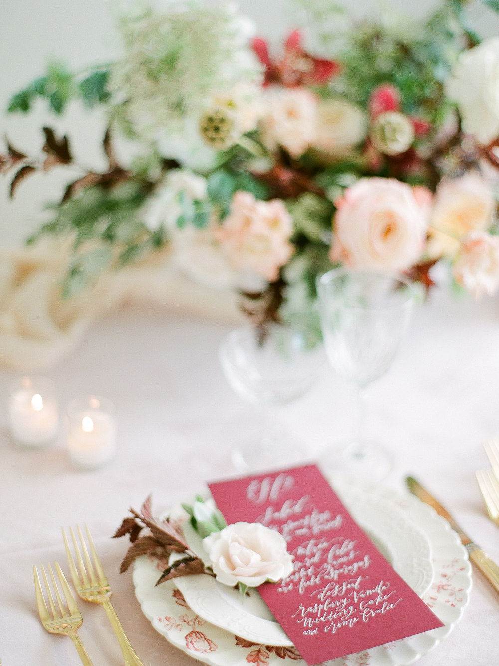 Burgundy and Blush Wedding Inspiration Styled Shoot Table