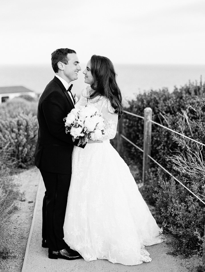 bride and groom wedding portraits at terranea