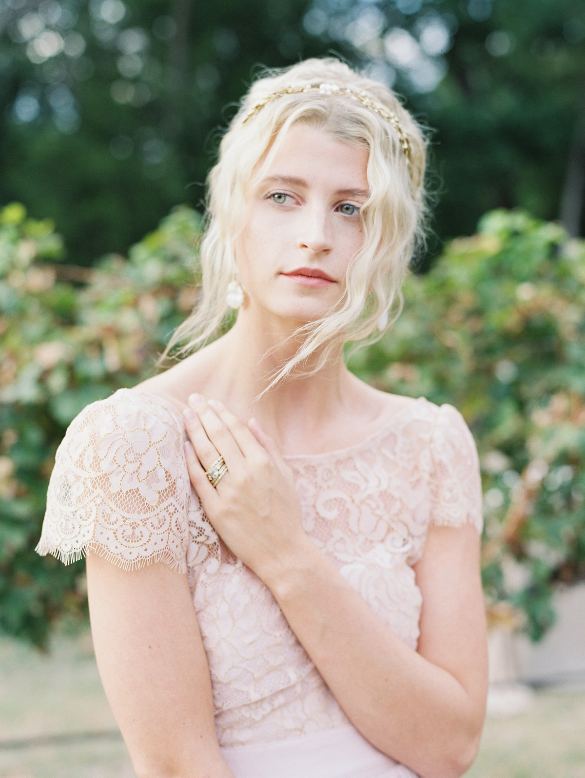bohemian blush wedding dress bride vinyard