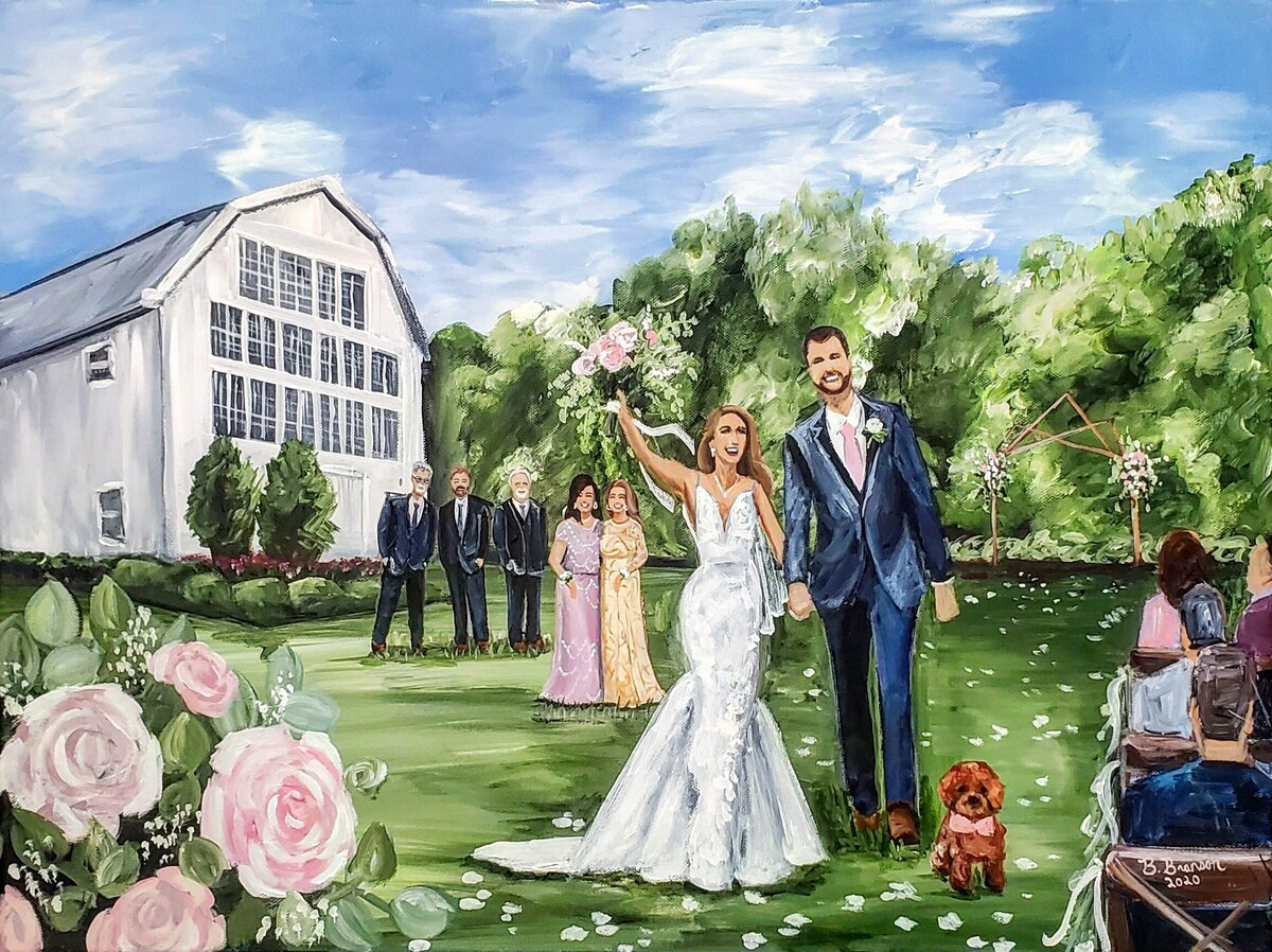 Live painting of a wedding ceremony exit at the White Sparrow Barn outside of Dallas Texas