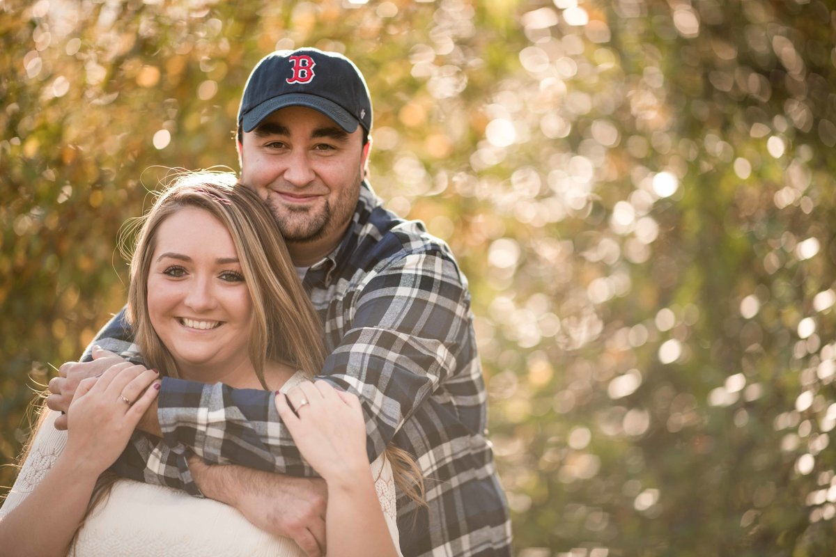 36 fall engagement session at sunset with foliage for ct national golf course wedding