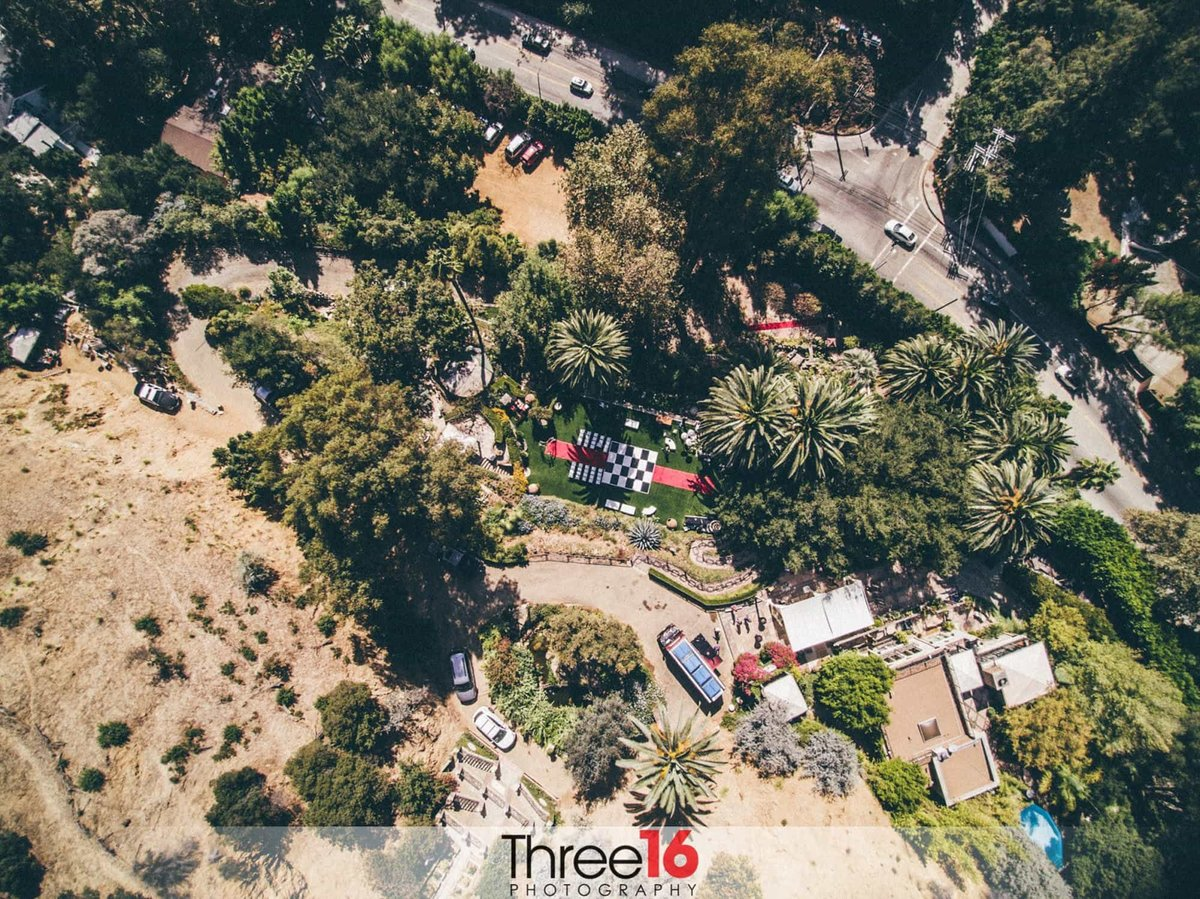 Aerial Photography of a Houdini Estate Wedding