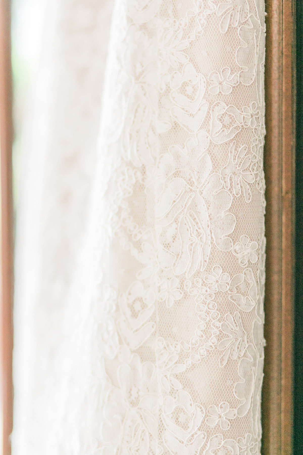 Ivory Beaded Lace Dress Detail