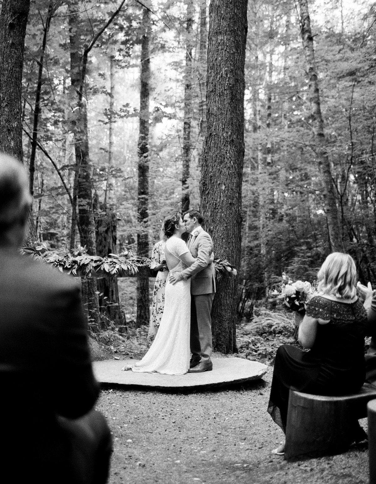 first kiss wooded wedding ceremonyu