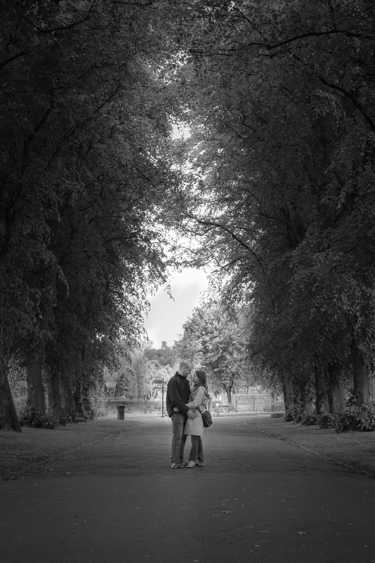 Black and white relaxed couple portrait Glasgow