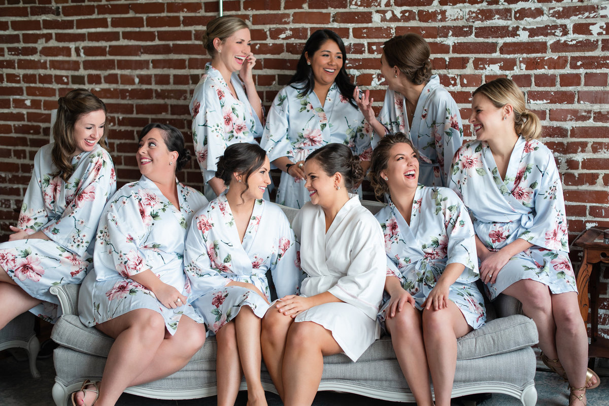 Bridesmaids in robes at 409s Main