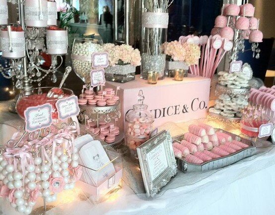 blush pink and white sweets table