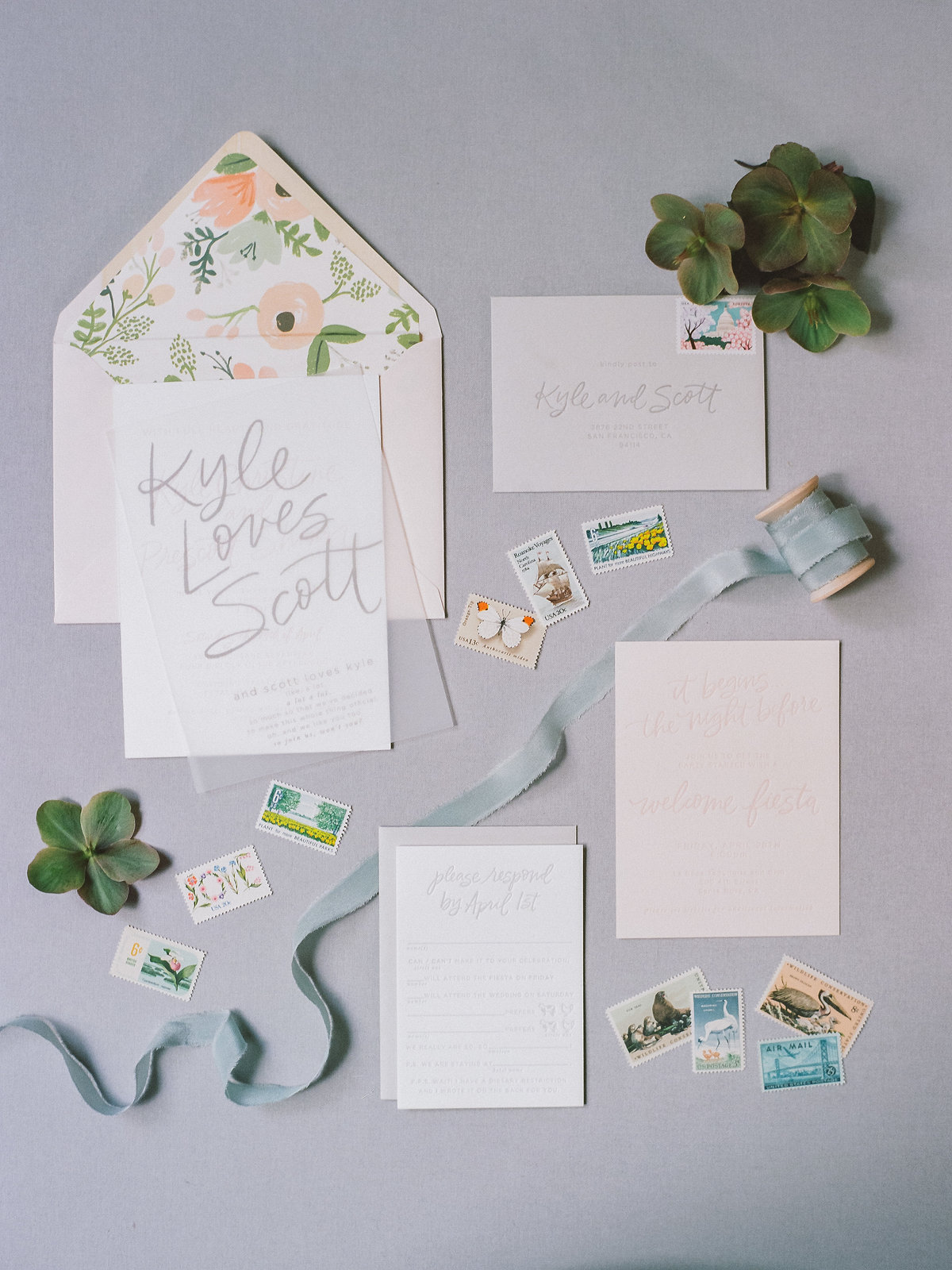 Invitation for wedding by Jenny Schneider Events at Olympia's Valley Estate in Petaluma, California. Photo by Lori Paladino Photography.