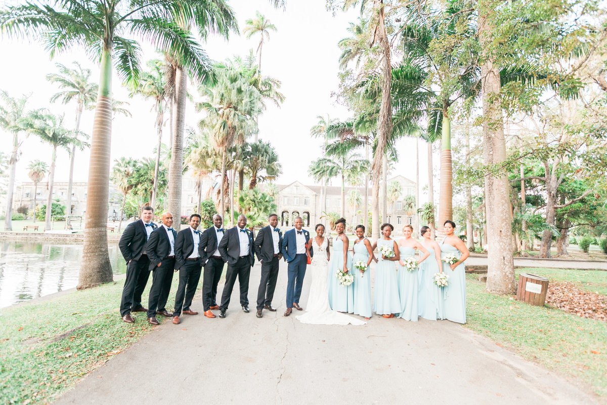 Wedding party photo at Codrington College, Barbados destination wedding